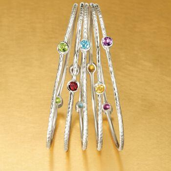 2.30 ct. t.w. Multi-Stone Jewelry Set: Five Bangle Bracelets in Sterling Silver, , default