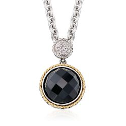 "Andrea Candela Black Onyx Doublet Necklace With Diamonds in Sterling Silver and 18kt Yellow Gold. 16"", , default"