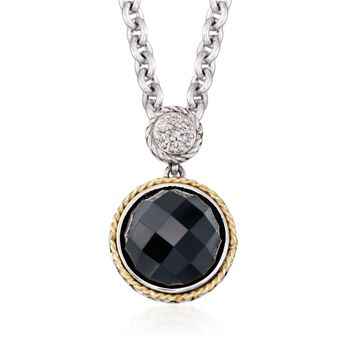 """Andrea Candela Black Onyx Doublet Necklace With Diamonds in Sterling Silver and 18kt Yellow Gold. 16"""", , default"""