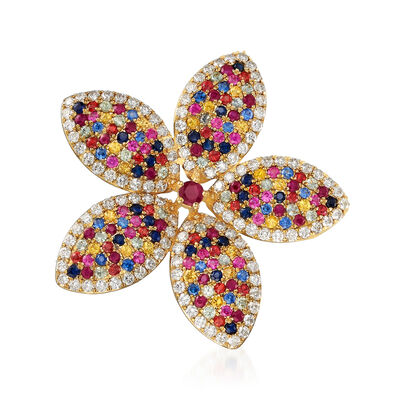 4.30 ct. t.w. Multicolored Sapphire, 1.40 ct. t.w. Ruby and 2.90 ct. t.w. Diamond Flower Pin/Pendant in 18kt Yellow Gold, , default