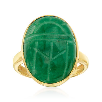 10.00 Carat Emerald Scarab Ring in 18kt Gold Over Sterling