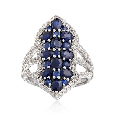 3.20 ct. t.w. Sapphire and .76 ct. t.w. White Zircon Ring in Sterling Silver, , default