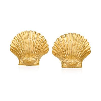 14kt Yellow Gold Seashell Motif Earrings, , default