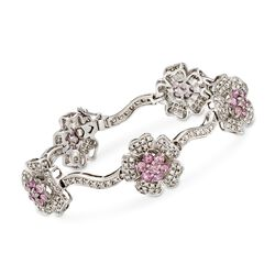 "C. 2000 Vintage 2.75 ct. t.w. Pink Sapphire and 2.40 ct. t.w. Diamond Floral Station Bracelet in 14kt White Gold. 7"", , default"