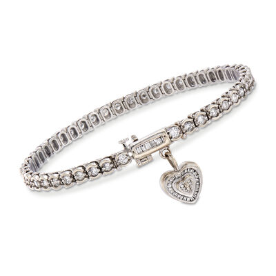C. 1990 Vintage 3.05 ct. t.w. Diamond Tennis Bracelet with Heart Charm in 14kt White Gold, , default
