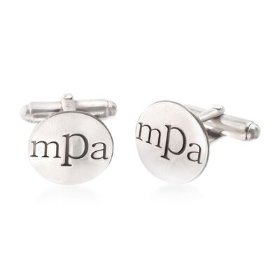 Sterling Silver Lowercase Monogram Cuff Links, , default