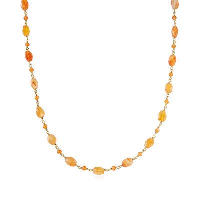 Carnelian Station Bead Necklace in 18kt Gold Over Sterling, , default
