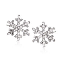 .15 ct. t.w. Diamond Snowflake Stud Earrings in 14kt White Gold, , default