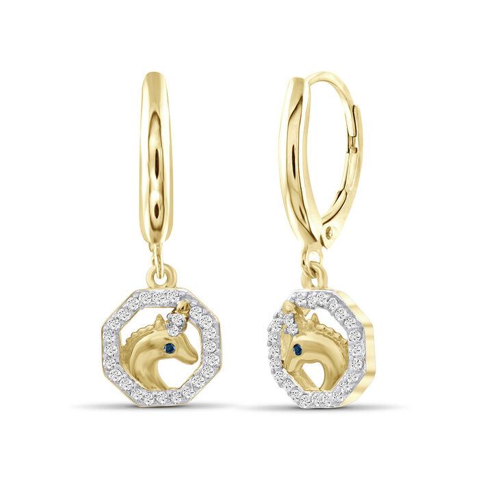 .15 ct. t.w. Diamond Unicorn Drop Earrings in 18kt Yellow Gold Over Sterling Silver