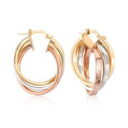 "Italian 14kt Tri-Colored Gold Rolling Hoop Earrings. 1 1/8"", , default"