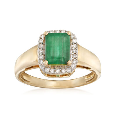 1.00 Carat Emerald and .14 ct. t.w. Diamond Ring in 14kt Yellow Gold, , default
