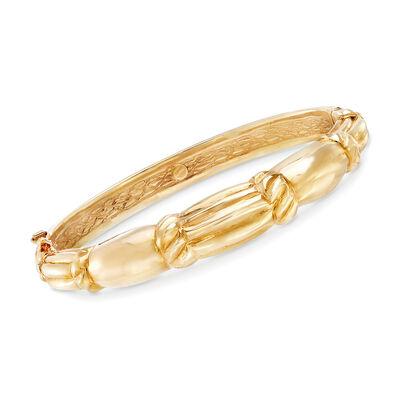 Italian 18kt Yellow Gold Scallop-Style Bracelet, , default