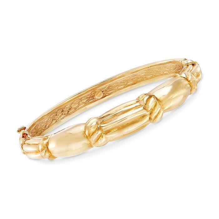 "Italian 18kt Yellow Gold Scallop-Style Bracelet. 7"", , default"