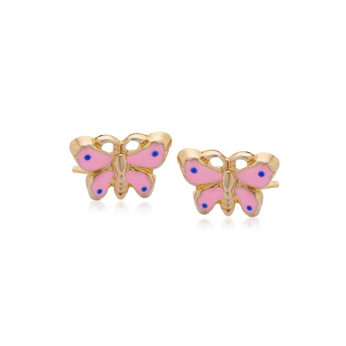 Child's 14kt Yellow Gold and  Pink Enamel Butterfly Earrings