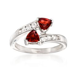1.10 ct. t.w. Garnet and .10 ct. t.w. White Topaz Bypass Ring in Sterling Silver, , default