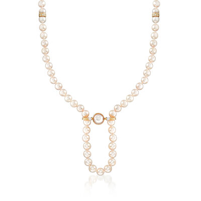 C. 1980 Vintage 7mm Cultured Pearl, 10mm Mabe Pearl and .60 ct. t.w. Diamond Necklace in 18kt Yellow Gold