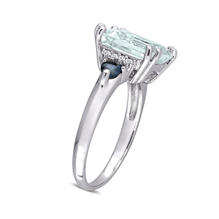 3.00 Carat Aquamarine and .30 ct. t.w. Sapphire Ring with Diamond Accents in Sterling Silver