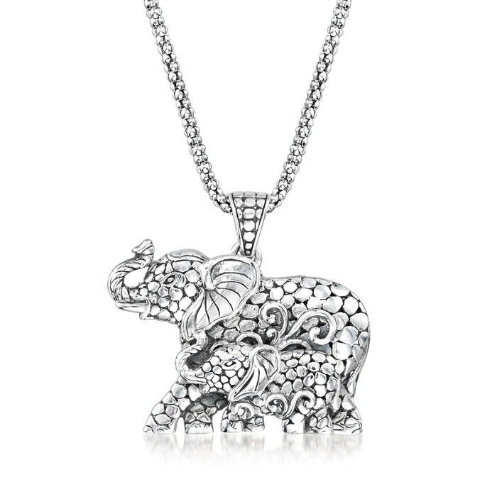 Sterling Silver Bali-Style Mother and Child Elephant Pendant Necklace