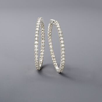 "Pair - 5.00 ct. t.w. Diamond Inside-Outside Hoop Earrings in 14kt White Gold. 1 1/2"", , default"