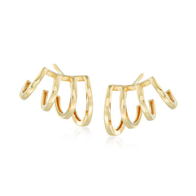 14kt Yellow Gold Four-Row Cuff Earrings, , default