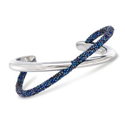 "Swarovski Crystal ""Crystaldust"" Blue Crystal Crisscross Cuff Bracelet in Silvertone, , default"