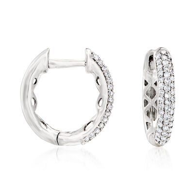 .24 ct. t.w. Diamond Hoop Earrings in 14kt White Gold