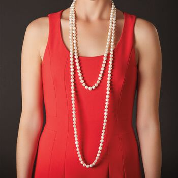 """8-9mm Gray Cultured Pearl Endless Necklace with Free Sterling Silver Necklace Shortener. 80"""""""