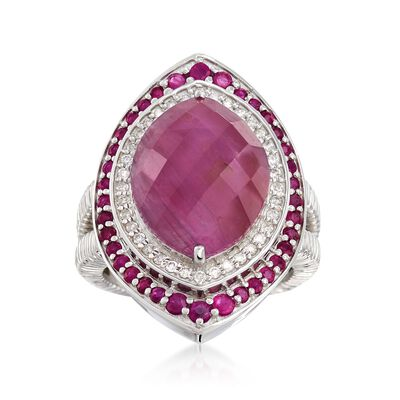 10.85 ct. t.w. Ruby and .27 ct. t.w. Diamond Ring in Sterling Silver, , default