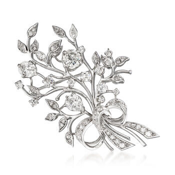 C. 1970 Vintage 3.65 ct. t.w. Diamond Floral Bouquet Pin in Platinum, , default