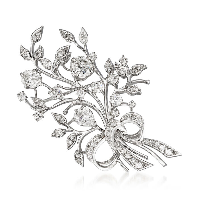 C. 1970 Vintage 3.65 ct. t.w. Diamond Floral Bouquet Pin in Platinum, , default