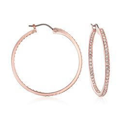 "Swarovski Crystal ""Sommerset"" Pave Crystal Inside-Outside Hoop Earrings in Rose Gold, , default"