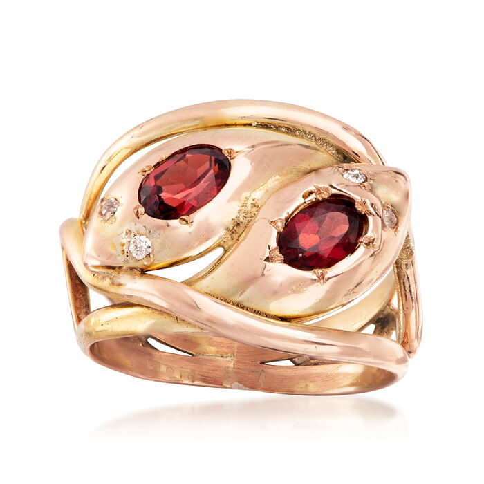 C. 1940 Vintage 1.20 ct. t.w. Garnet Double Snake Head Ring with Diamond Accents in 9kt Yellow and Rose Gold. Size 6.5