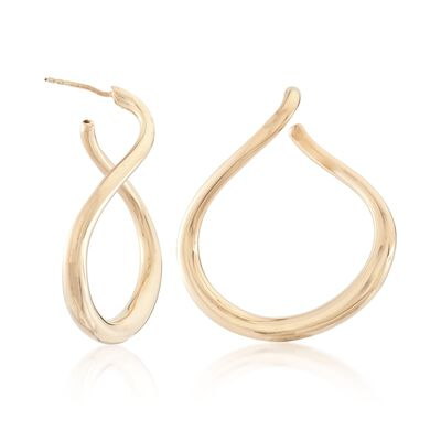 Italian 18kt Gold Over Sterling Silver Front-Facing Teardrop Hoop Earrings, , default