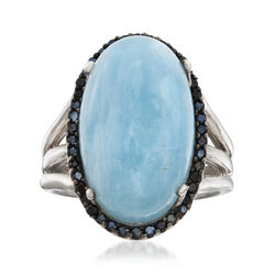 14.00 Carat Milky Aquamarine Ring With Black Spinel Accents in Sterling Silver, , default