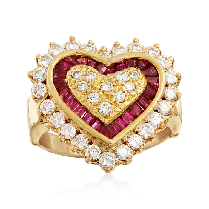 C. 1980 Vintage .75 ct. t.w. Diamond and .50 ct. t.w. Ruby Heart-Shaped Ring in 18kt Yellow Gold. Size 5.5, , default