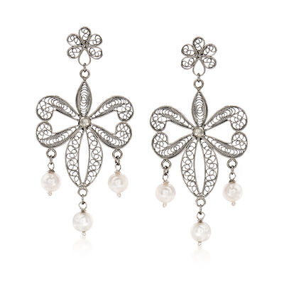 Italian 7mm Cultured Pearl Filigree Drop Earrings in Sterling Silver