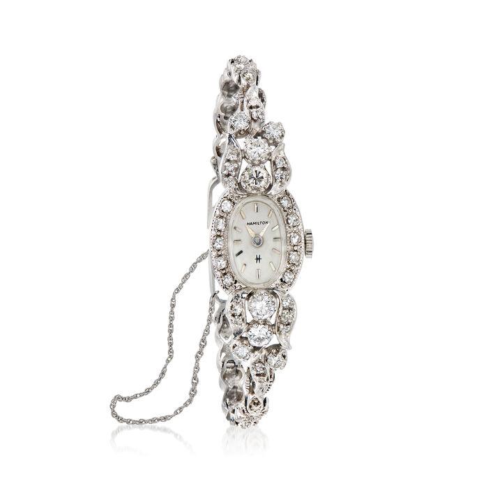 C. 1950 Vintage Women's Hamilton 1.55 ct. t.w. Diamond 15mm Watch in 14kt White Gold. Size 6.25, , default
