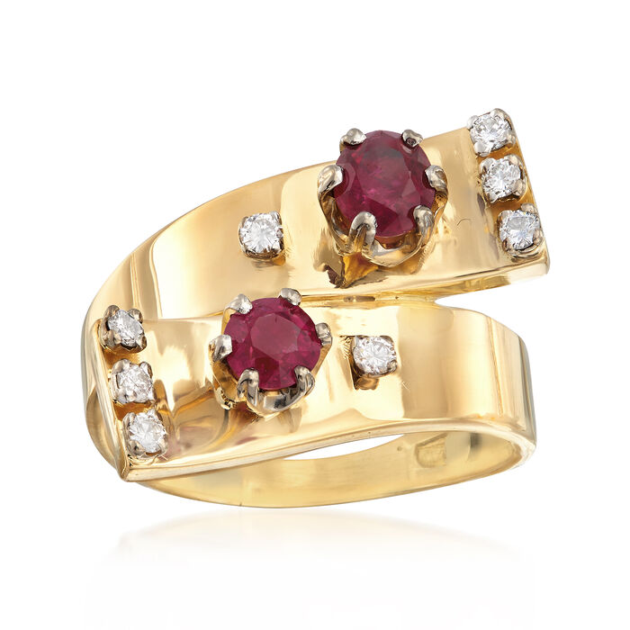 C. 1980 Vintage .85 ct. t.w. Ruby and .25 ct. t.w. Diamond Bypass Ring in 18kt Yellow Gold. Size 7.5, , default