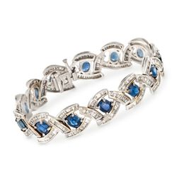 "C. 1990 Vintage 11.05 ct. t.w. Sapphire and 4.75 ct. t.w. Diamond Bracelet in 18kt White Gold. 7"", , default"
