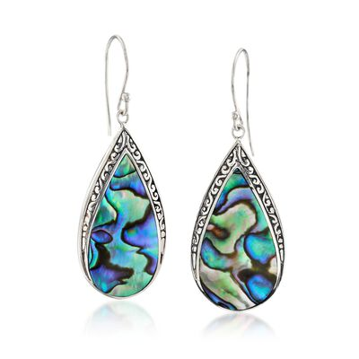 Abalone Shell Bali-Style Teardrop Earrings in Sterling Silver, , default