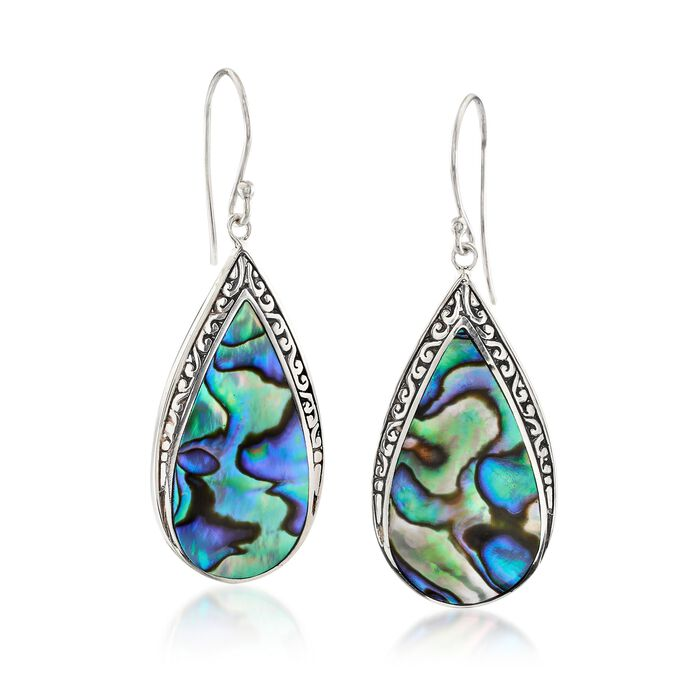 Abalone Shell Bali-Style Teardrop Earrings in Sterling Silver