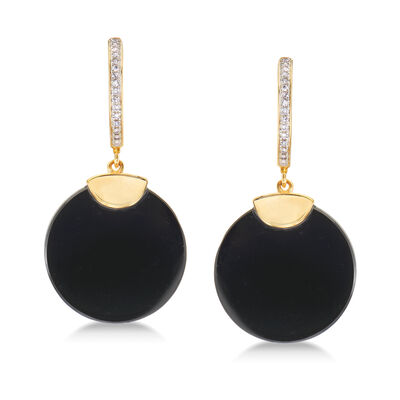 Black Agate and .10 ct. t.w. Diamond Hoop Drop Earrings in 18kt Gold Over Sterling