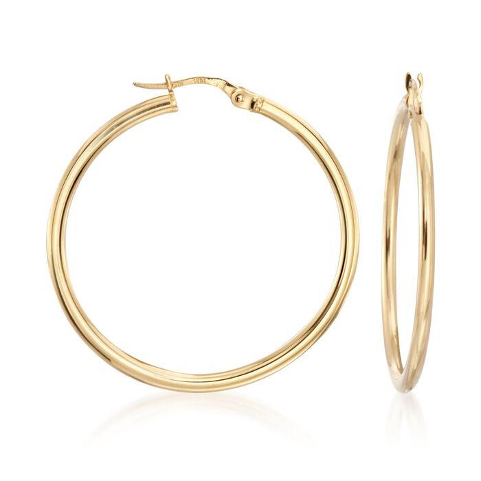"""Roberto Coin 35mm 18kt Yellow Gold Hoop Earrings. 1 3/8"""", , default"""