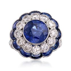 C. 1980 Vintage 3.70 ct. t.w. Sapphire and 1.34 ct. t.w. Diamond Floral Ring in 18kt White Gold. Size 7, , default