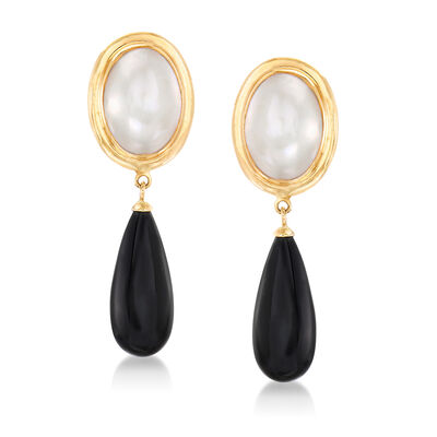 20x8mm Black Agate and 14x10mm Mabe Pearl Drop Earrings in 14kt Yellow Gold, , default