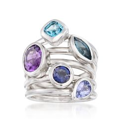 2.80 ct. t.w. Multi-Stone Jewelry Set: Five Rings in Sterling Silver. Size 5, , default