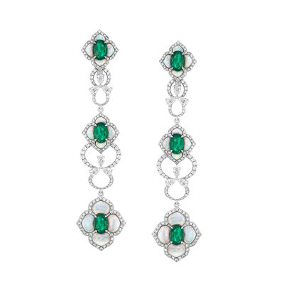 Opal, 4.30 ct. t.w. Emerald and 2.75 ct. t.w. Diamond Drop Earrings in 18kt White Gold