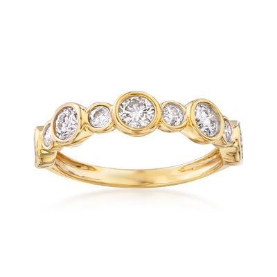 1.00 Carat Bezel-Set Diamond Ring in 14kt Yellow Gold, , default