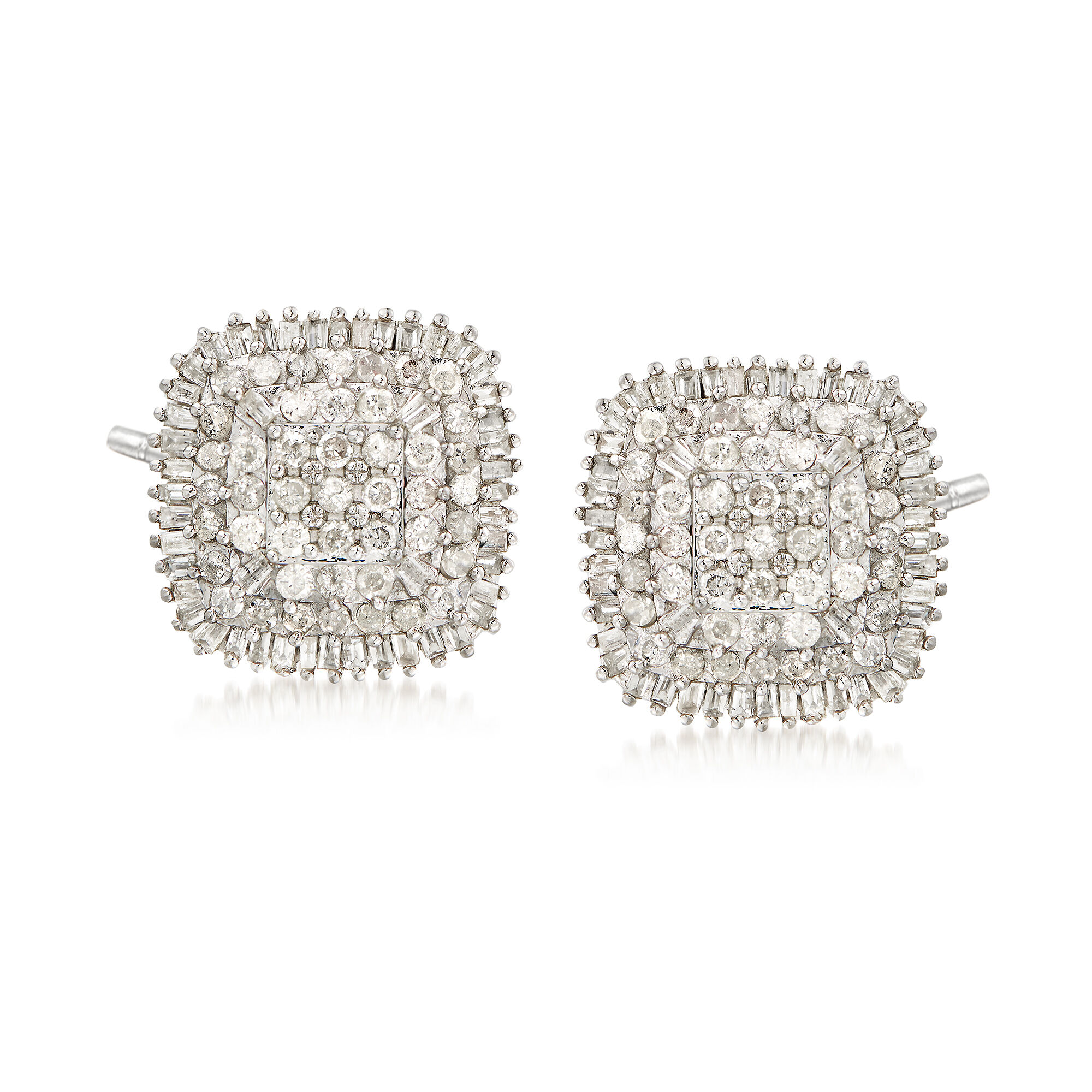 .15 Cttw Diamond Cluster Earring Set In Sterling Silver