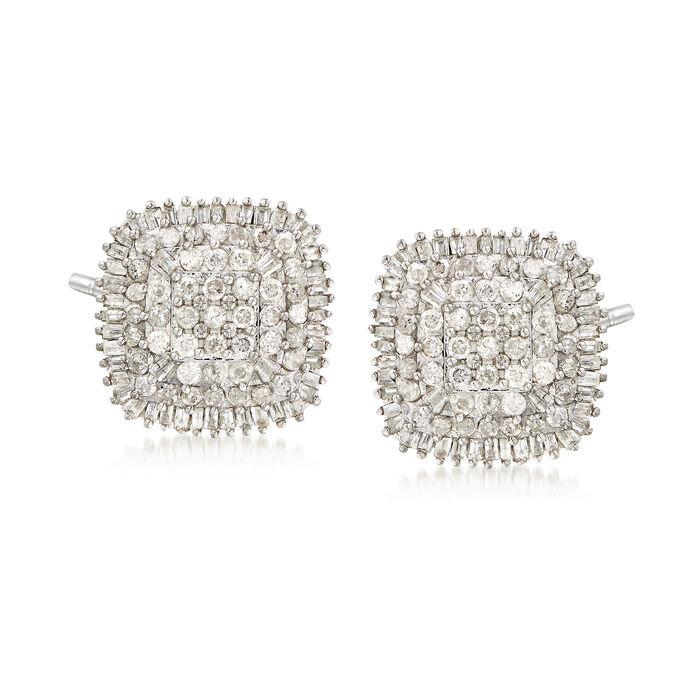 1.50 ct. t.w. Diamond Cluster Earrings in Sterling Silver